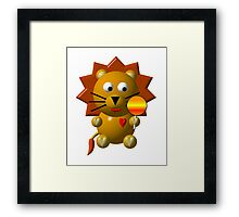Cute lion with a lollipop Framed Print