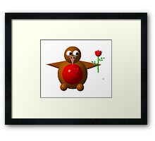 Cute robin with a rose Framed Print