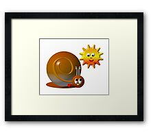 Cute snail with a smiling sun Framed Print