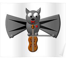 Cute vampire bat playing the violin Poster