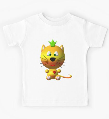 Cute cat wearing a crown Kids Tee