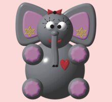 Cute elephant wearing earrings Kids Tee