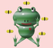 Cute frog and flies Kids Clothes