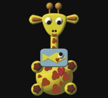 Cute giraffe with goldfish Kids Tee