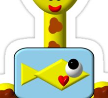 Cute giraffe with goldfish Sticker