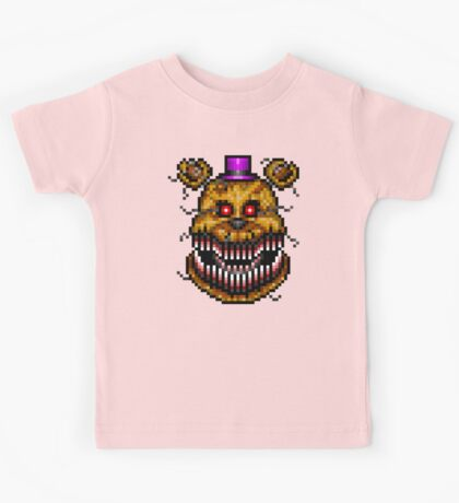 Five Nights at Freddys 4 - Nightmare Fredbear - Pixel art Kids Tee