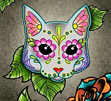 Day of the Dead Cat in Grey Sugar Skull Kitty by prettyinink
