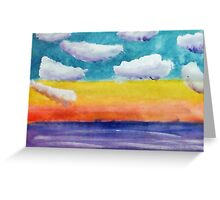 Fantasy Sunset, watercolor Greeting Card