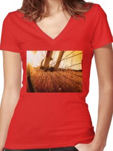 Cycling In A Wheat Field Women's Fitted V-Neck T-Shirt