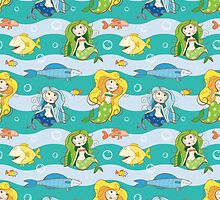 Pattern with mermaids. by Voron4ihina