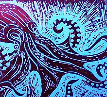 Octopus 2 Lino Print by Bessie-Ray