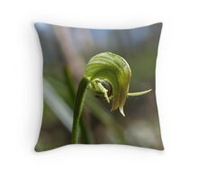 Nodding Greenhood Orchid Throw Pillow