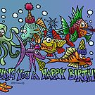 """Fishing you a Happy Birthday"" by NHR CARTOONS ."