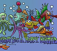 """Fishing you a Happy Birthday"" by NHR CARTOONS ."