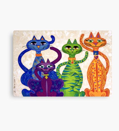 'High Street Cats' - a little bit Posh! (larger version) Canvas Print