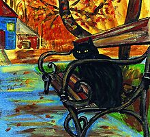 Black Cat on Park Bench by hickerson