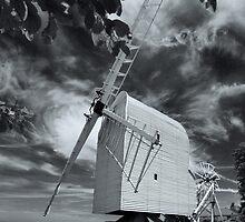 Great Chishill Windmill B&W by Geoff Carpenter