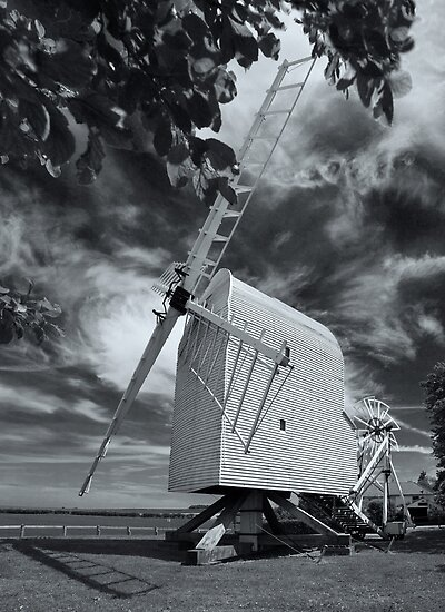 Great Chishill Windmill B&W by Geoff Carpenter