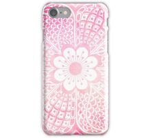 Abstract girly pink and white watercolor floral  iPhone Case/Skin