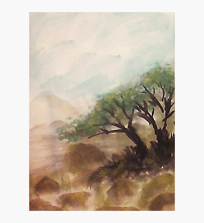 Resting under trees on slope in desert mountains, watercolor Photographic Print
