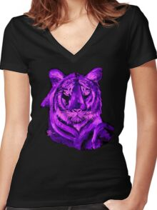 AAG1  PURPLE TIGER  Women's Fitted V-Neck T-Shirt
