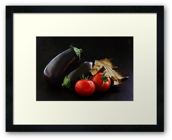 Eggplant and Tomato still life by Clare Colins
