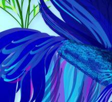 Big Blue Siamese Fighting Fish Oval Sticker