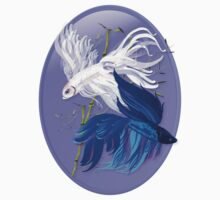 Blue 'n' White Siamese Fighting Fish Oval Kids Clothes