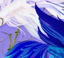 Blue 'n' White Siamese Fighting Fish Oval Sticker