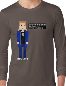 Scott Pilgrim - Rating: Awesome - 8-Bit Long Sleeve T-Shirt