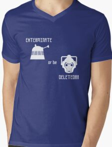 Daleks vs Cybermen - Exterminate or be Deleted Mens V-Neck T-Shirt