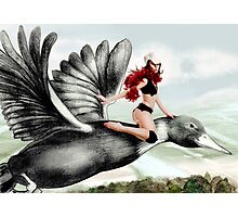 Arual the Elf flying on a goose Photographic Print