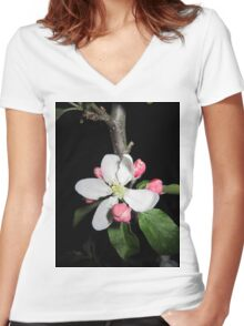 apple at night 2 Women's Fitted V-Neck T-Shirt