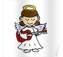 Funny Angel Girl Playing Red Guitar Poster