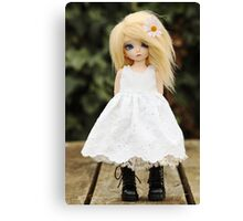 An angel in black boots Canvas Print