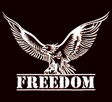 Eagle over lettering freedom drawn in engraving style by devaleta