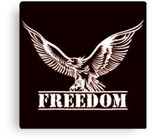 Eagle over lettering freedom drawn in engraving style Canvas Print