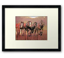Working draught horses - Harvest Time Framed Print