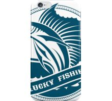 Nautical retro label with jumping sail fish iPhone Case/Skin