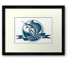 Nautical retro label with jumping sail fish Framed Print
