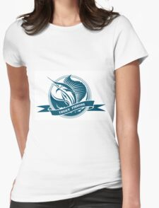Nautical retro label with jumping sail fish Womens Fitted T-Shirt