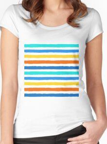 Brush Strokes Colorful Seamless Pattern Women's Fitted Scoop T-Shirt