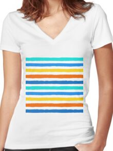 Brush Strokes Colorful Seamless Pattern Women's Fitted V-Neck T-Shirt