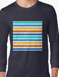 Brush Strokes Colorful Seamless Pattern Long Sleeve T-Shirt