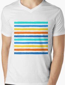 Brush Strokes Colorful Seamless Pattern Mens V-Neck T-Shirt