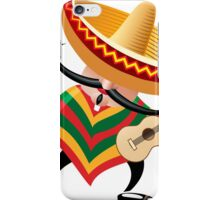 mexican musician in sombrero with guitar drawn in cartoon style iPhone Case/Skin