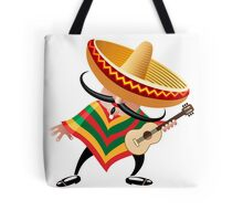 mexican musician in sombrero with guitar drawn in cartoon style Tote Bag
