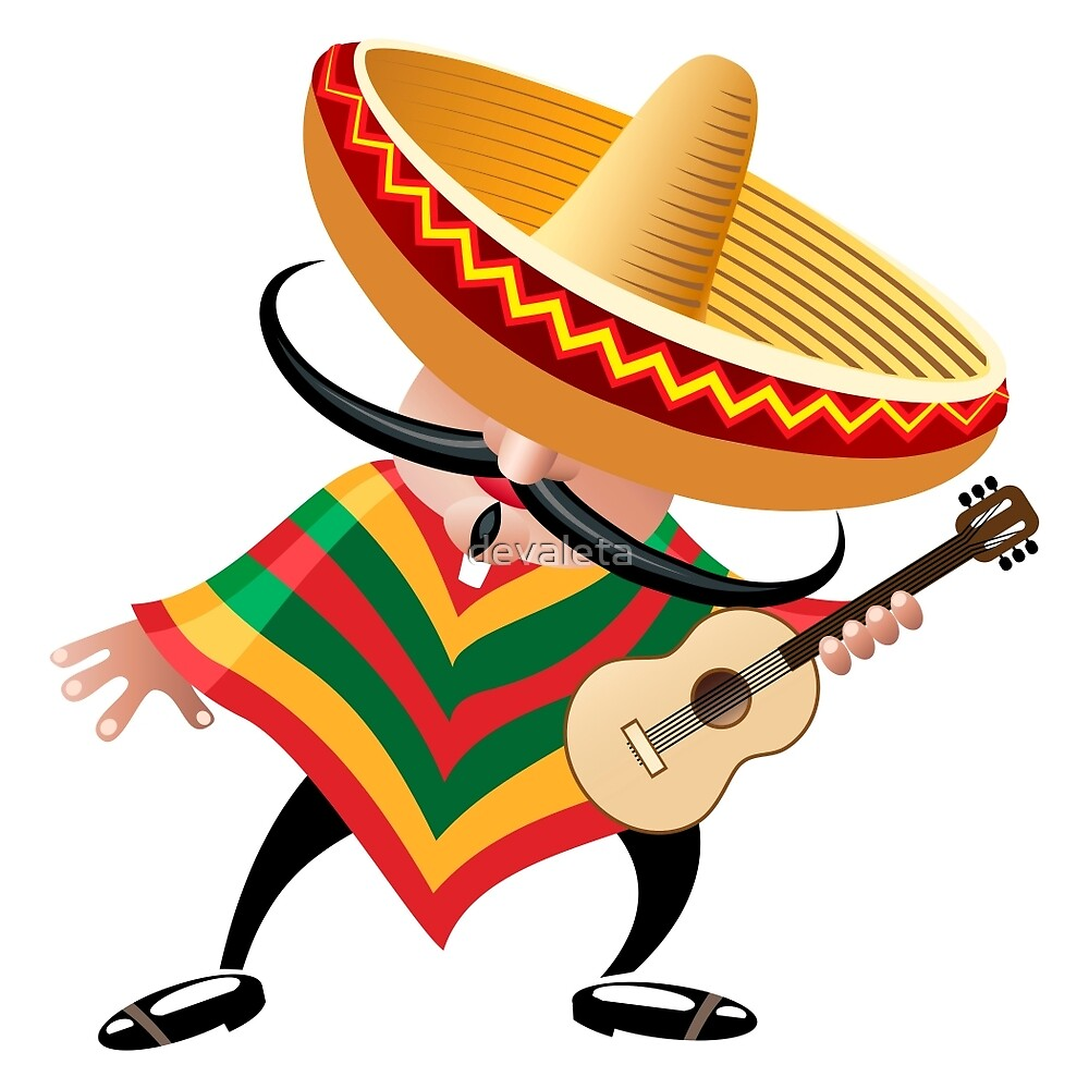"""mexican musician in sombrero with guitar drawn in cartoon"