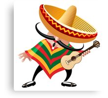 mexican musician in sombrero with guitar drawn in cartoon style Canvas Print