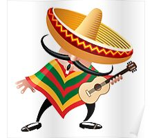mexican musician in sombrero with guitar drawn in cartoon style Poster